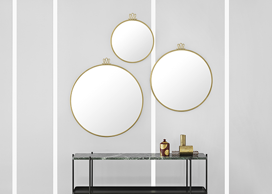 FET_DesignCircus_Indretning_bolig_Randaccio mirror - Ø42 - Ø60 - Ø70_TS console 2 - green marble - black tray kopi