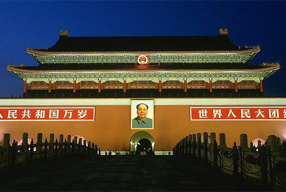 FET_Rejsereportage_Kina_TPå Den Himmelske Freds Plads hænger billedet af formand Mao