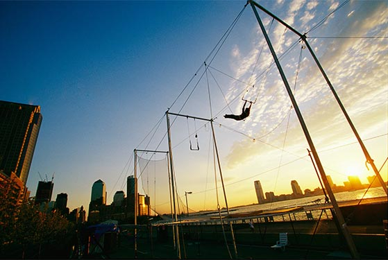 New York City's trapeze school located on the East River of Manhattan