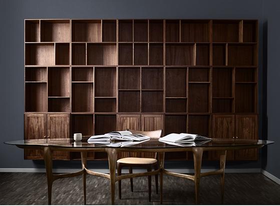 FET_ATBO-Bookcase-storage-Solid-Mahogny-and-AE-Skovgaard-Cloud-Dinnertable-Korona-chair-2018